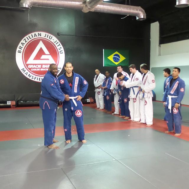 Jason Gross getting his new stripe for his belt. Congratulations.  #graciebarra #gbmansfieldtx #jiujitsu #jiujitsuforeveryone #newstripe #bjj